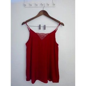 NWT 1. STATE bright red with lace cami, size small